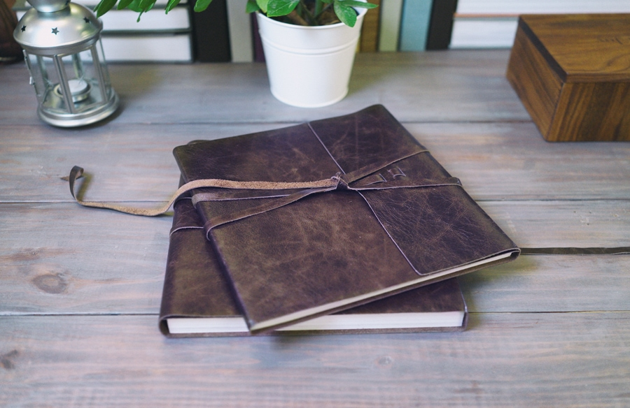 """Leather bound album in a wonderful lay-flat design"""