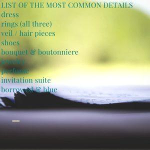 Forney Wedding Photographer - Wedding Details List